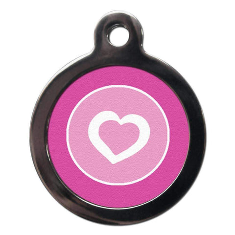 Pretty Pink Heart Dog ID Tag - Poochie Fashion