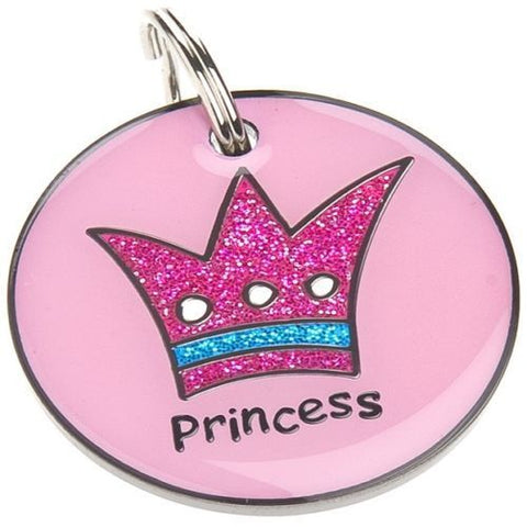Small Princess Glitter Pet ID Tag - Posh Pawz Fashion