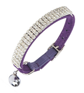 Purple Velvet Rhinestone Crystal Cat Collar - Posh Pawz Fashion