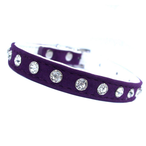 Purple Plush Diamante Dog Collar - Posh Pawz Fashion