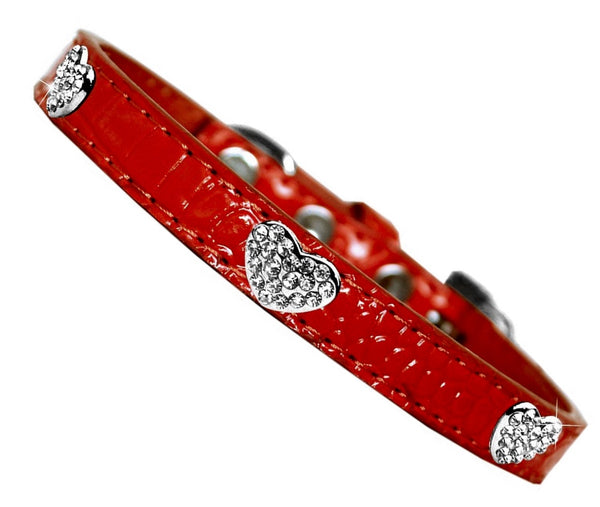 Red Croc Crystal Hearts Dog Collar - Posh Pawz Fashion