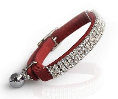 Red Velvet Rhinestone Crystal Cat Collar - Posh Pawz Fashion