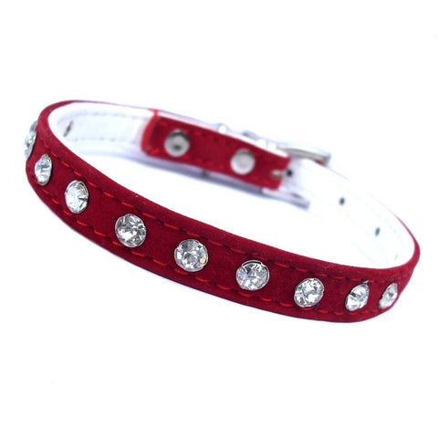 Red Plush Diamante Dog Collar - Posh Pawz Fashion