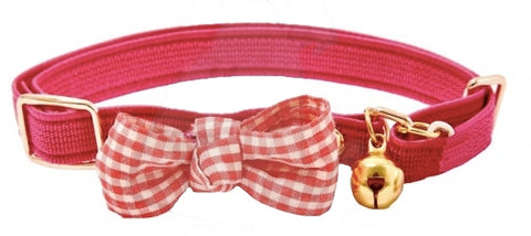 Funky Bow Luxury Cat Collar in Burgundy - Posh Pawz Fashion