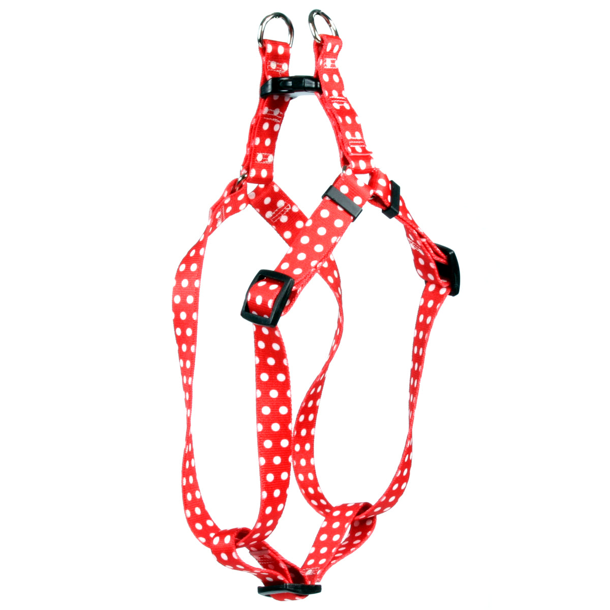 Red Polka Dot Adjustable Step In Dog Harness - Posh Pawz Fashion