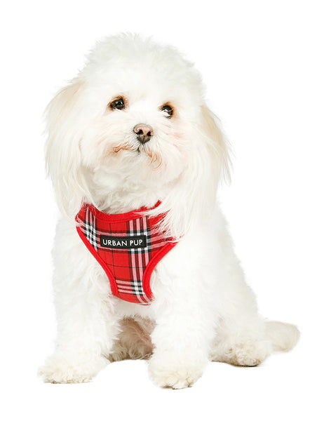 Red Checked Tartan Dog Harness2 - Posh Pawz Fashion