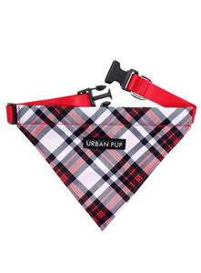 Red And White Tartan Plaid Fabric Dog Bandana Collar - Posh Pawz Fashion
