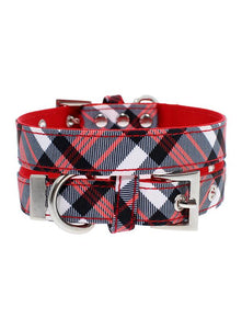 Red And White Tartan Plaid Designer Fabric Dog Collar - Posh Pawz Fashion