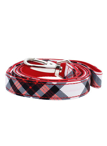 Red And White Tartan Plaid Designer Fabric Dog Lead - Posh Pawz Fashion