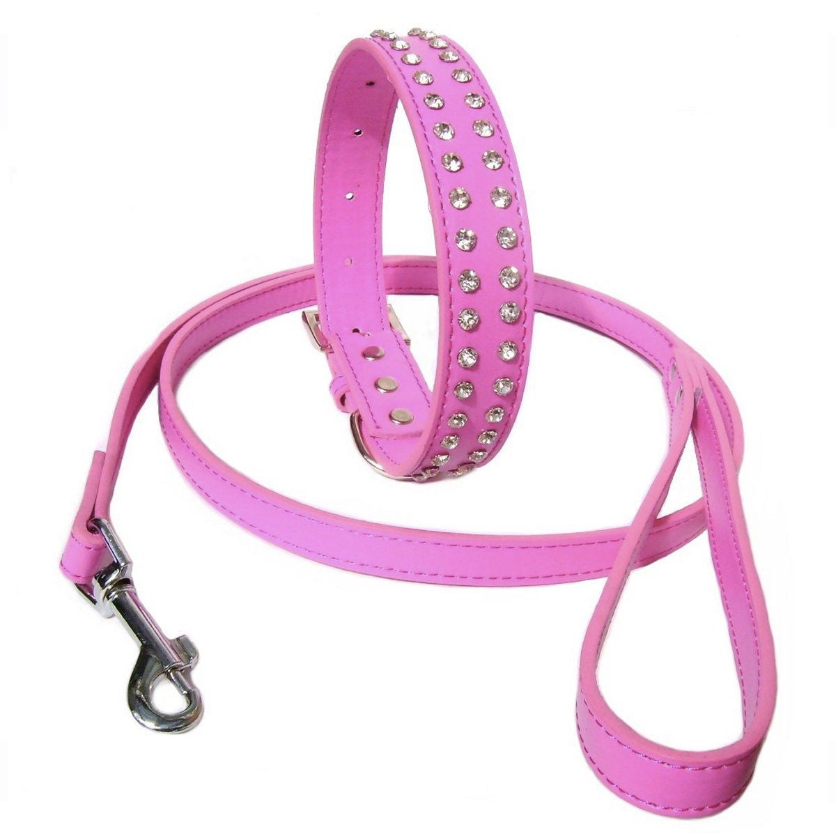 Hot Pink Rhinestone Crystal Dog Collar And Lead Set - Posh Pawz Fashion