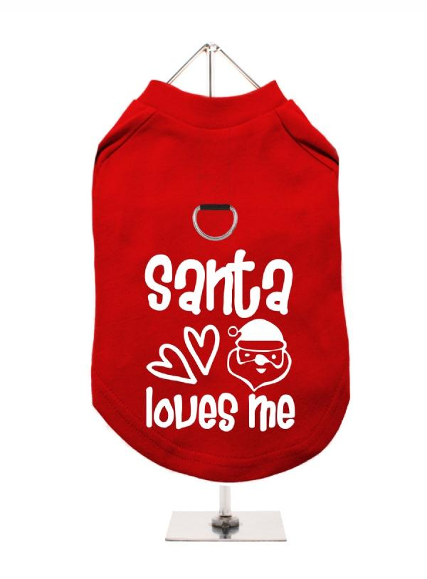 Santa Loves Me Harness Lined Dog T-Shirt - Posh Pawz Fashion