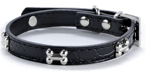 Silver Bones Puppy Dog Collar In Black - Posh Pawz Fashion