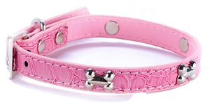 Silver Bones Puppy Dog Collar In Pink - Posh Pawz Fashion