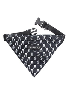Skull And Crossbones Fabric Dog Bandana Collar - Posh Pawz Fashion