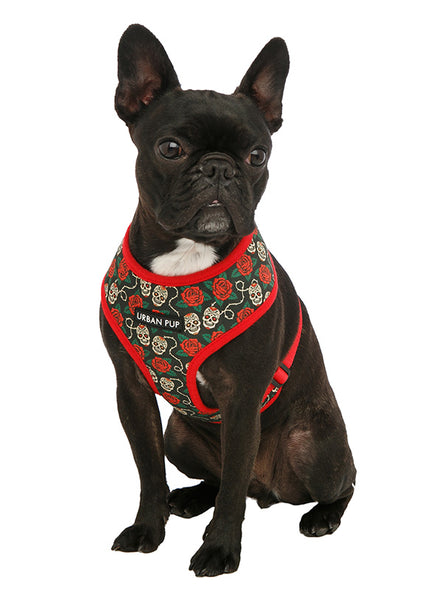 Skull And Roses Dog Harness2 - Posh Pawz Fashion