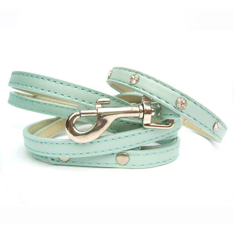 Super Slim Crystal Dog Collar And Lead In Blue - Posh Pawz Fashion