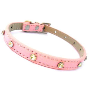 Super Slim Crystal Dog Collar In Pink - Posh Pawz Fashion