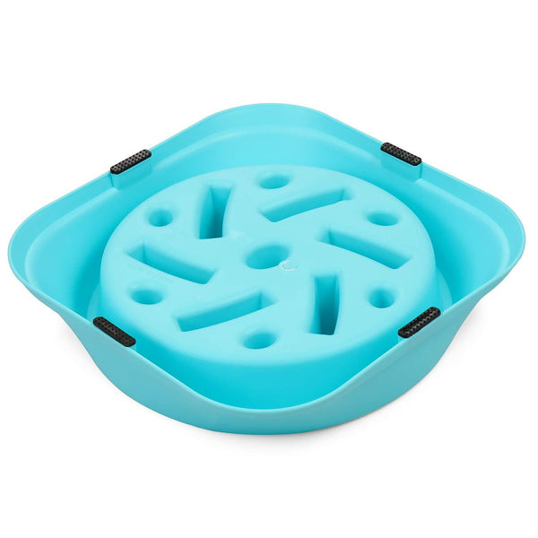 Maze Slow Feeder Dog Bowl Blue - Posh Pawz Fashion