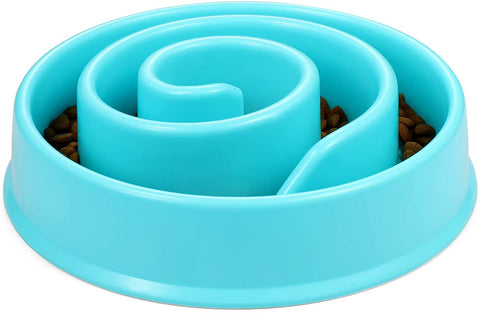 Spiral Slow Feeder Dog Bowl In Blue