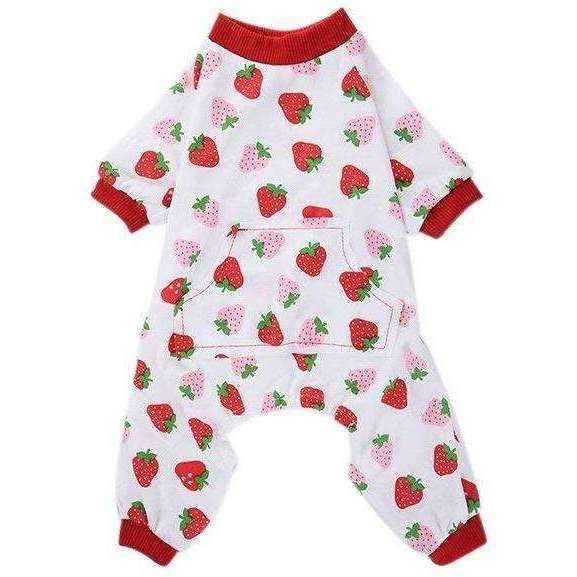 Strawberry Onesie Dog Pyjamas - Posh Pawz Fashion