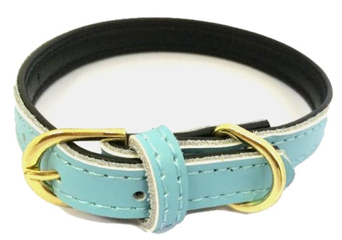 Super Soft Plain Leather Dog Collar In Baby Blue - Posh Pawz Fashion