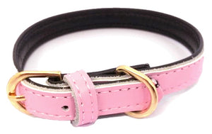 Super Soft Plain Leather Dog Collar In Baby Pink - Posh Pawz Fashion