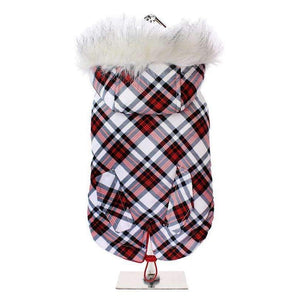 Red And White Tartan Plaid Fish Tail Parka Dog Coat - Posh Pawz Fashion
