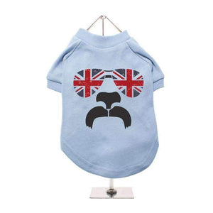 Shades And Tash Dog T-Shirt In Blue - Posh Pawz Fashion