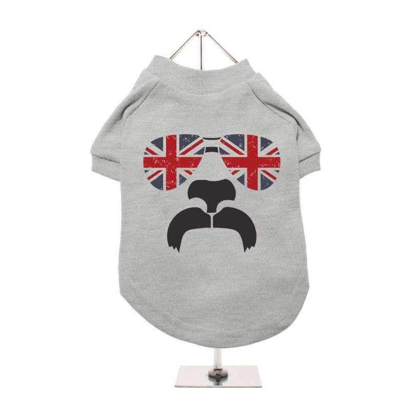 Shades And Tash Dog T-Shirt In Grey - Posh Pawz Fashion