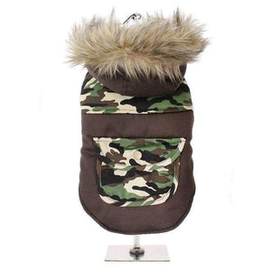 Two Tone Camo Parka Dog Coat - Posh Pawz Fashion