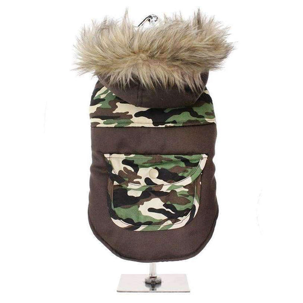 Two Tone Camouflage Quilted Parka Dog Coat - Posh Pawz Fashion