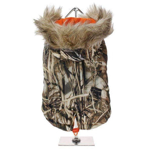 Wetlands Camouflage Fish Tail Parka Dog Coat - Posh Pawz Fashion