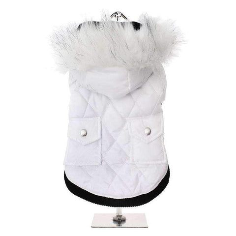 Snow White Quilted Parka Dog Coat - Posh Pawz Fashion