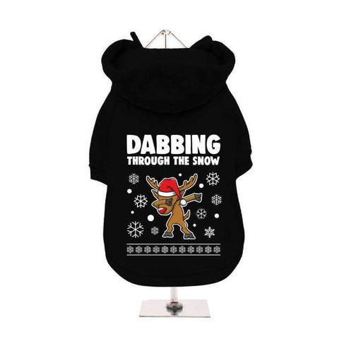 Dabbing Through The Snow Fleece Lined Dog Hoodie Sweatshirt - Posh Pawz Fashion