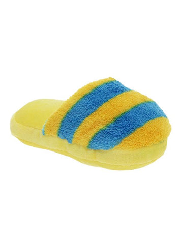Yellow Striped Slipper Plush And Squeaky Dog Toy - Posh Pawz Fashion