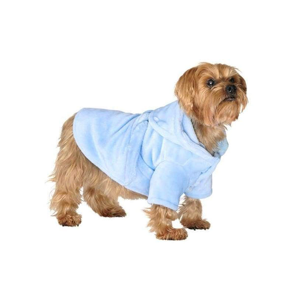 Baby Blue Plush and Fluffy Terry Dog Bath Robe - Posh Pawz Fashion