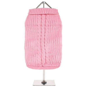 Baby Pink Cable Knit Dog Jumper - Posh Pawz Fashion