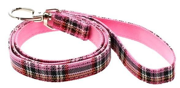 Baby Pink Tartan Fabric Dog Lead - Posh Pawz Fashion