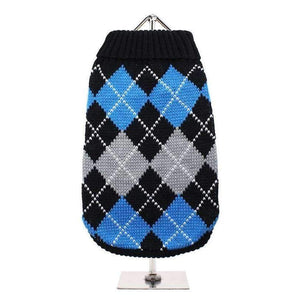 Black And Blue Argyle Dog Jumper - Posh Pawz Fashion