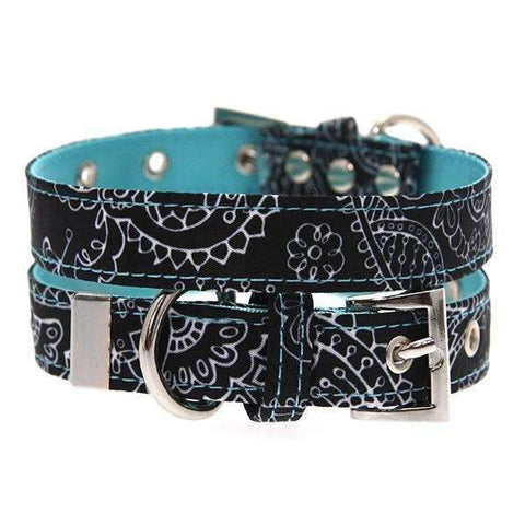Black and Blue Paisley Designer Fabric Dog Collar - Posh Pawz Fashion