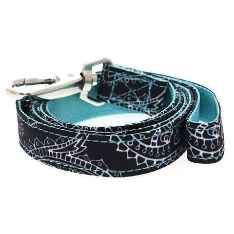 Black and Blue Paisley Designer Fabric Dog Lead - Posh Pawz Fashion