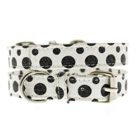 Black and White Polka Dot Glitter Dog Collar - Posh Pawz Fashion