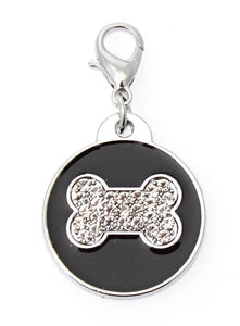 Black Enamel Diamante Bone Dog Collar Charm - Posh Pawz Fashion