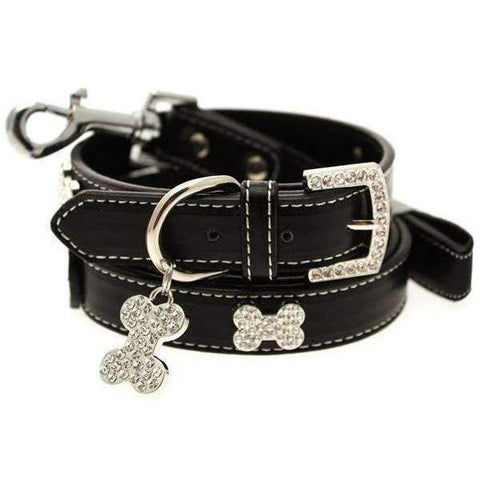 Black Leather Diamante Bone Dog Collar And Lead Set - Posh Pawz Fashion