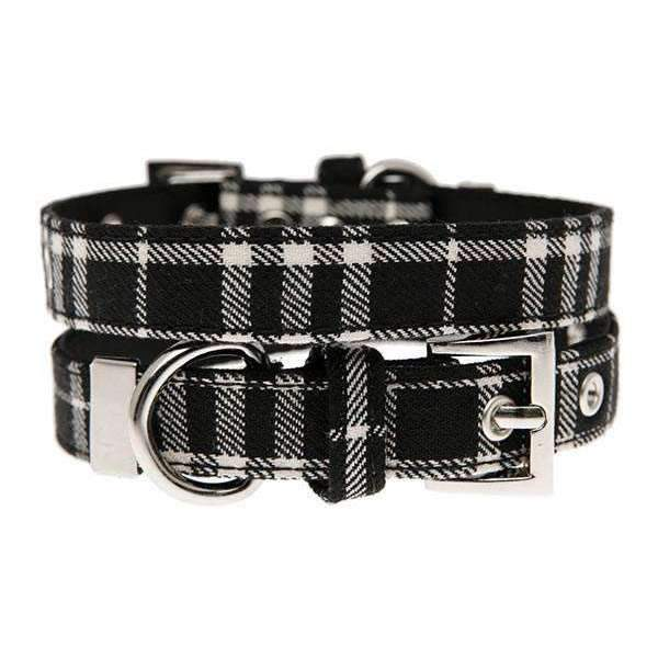 Black & White Tartan Fabric Dog Collar - Posh Pawz Fashion