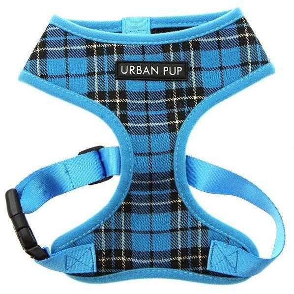 Blue Checked Tartan Dog Harness - Posh Pawz Fashion