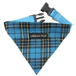 Blue Checked Tartan Fabric Dog Bandana - Posh Pawz Fashion