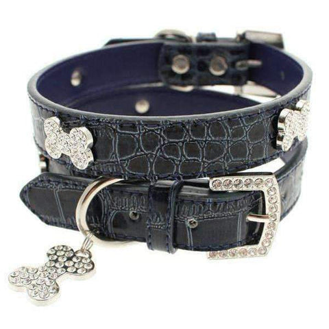 Blue Crocodile Leather Diamante Dog Collar And Bone Charm - Posh Pawz Fashion
