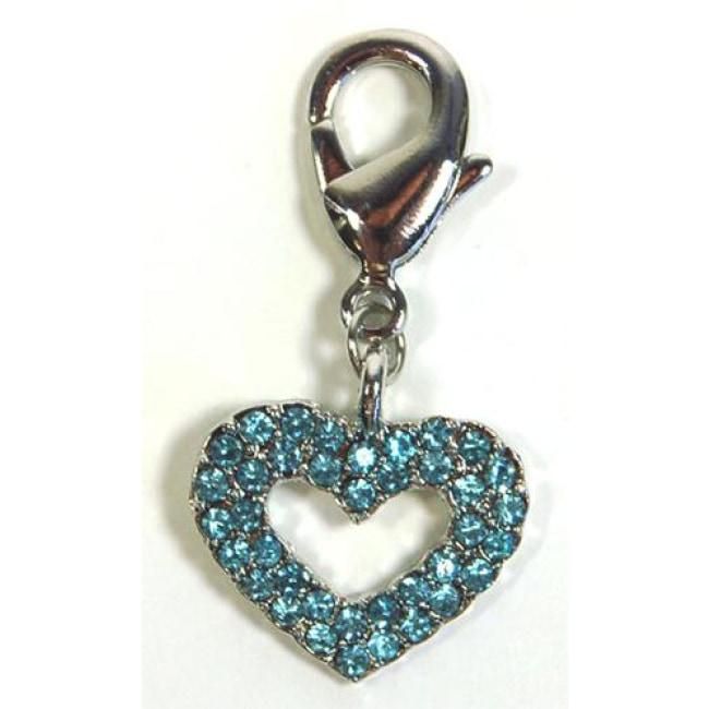 Blue Crystal Heart Dog Collar Charm - Posh Pawz Fashion