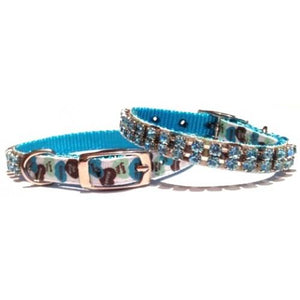 Blue Crystal Love Hearts Puppy Collar - Posh Pawz Fashion
